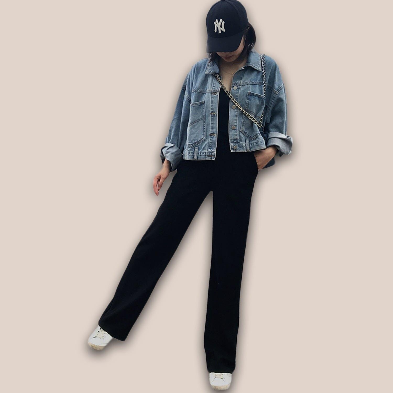 直筒褲--超顯瘦時尚優雅墬感寬鬆百搭鬆緊高腰直筒長褲(黑S-5L)-P146眼圈熊中大尺碼 1