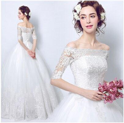 天使嫁衣【AE7199】一字領中袖蕾絲收邊高雅婚紗˙預購訂製款