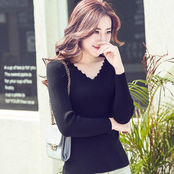 V領 鋸齒狀 螺紋 長袖 上衣 T 針織 毛衣 壓紋 坑條 長版 貼身 顯瘦 百搭 彈性 多色 韓 ANNA S.