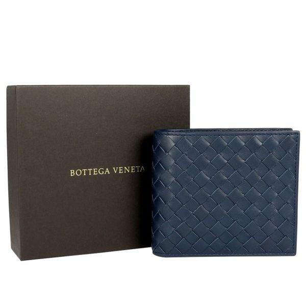 【BOTTEGA VENETA】小牛皮編織 對開8卡短夾 (深藍) 113993 V4651 4013 4