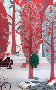 INKELeidseHoutRoodIK2060【訂貨單位:4張壁畫1套】兒童房壁紙森林牆紙樹木紅色