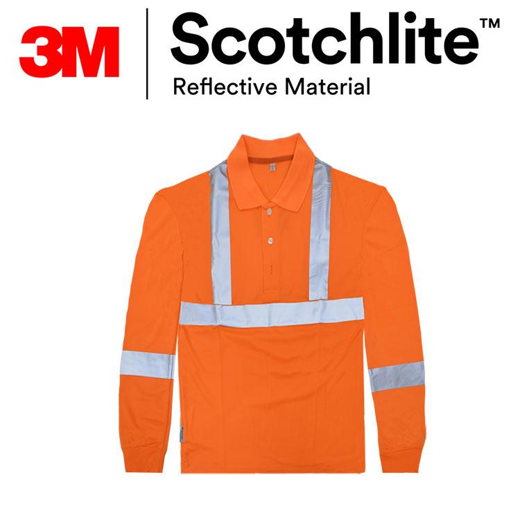 立領螢橘直、橫反光條長袖polo衫特惠款 3M Scotchlite保證 Safetylite