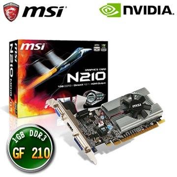 微星N210-MD1G/D3 顯示卡  顯示晶片:nVidia GF210 ◆ 記憶體:1GB DDR3 ◆ 記憶體時脈:1000 MHz ◆ 記憶體介面:64 bit ◆ 介面規格:PCI-E 2...