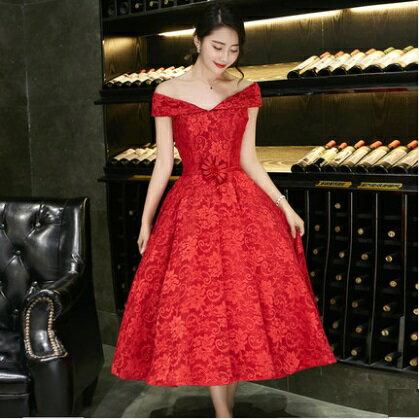 天使嫁衣~XQ8755~紅色花型蕾絲一字領包肩氣質中長款禮服˙ 訂製款