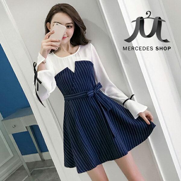 《全店75折》假兩件連身裙修身氣質大擺長袖洋裝(S-XL,2色)-梅西蒂絲(現貨+預購)