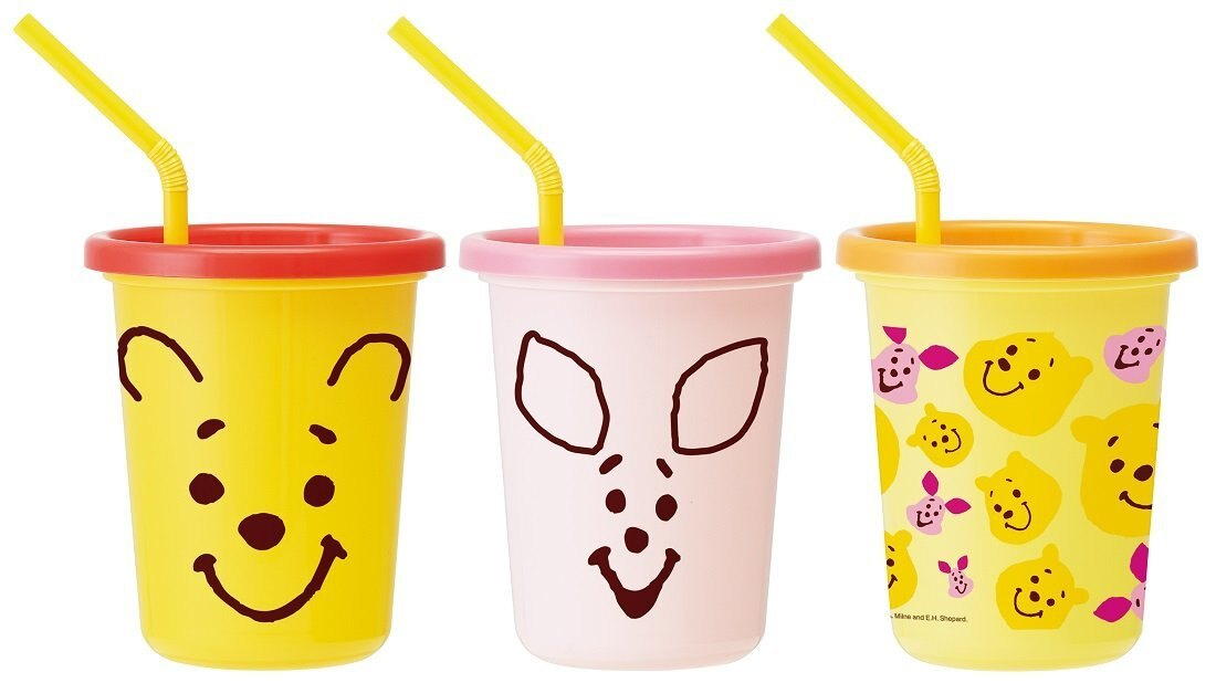 X射線【C385995】小熊維尼Winnie the Pooh 日本製塑膠吸管杯3入320ml,水瓶/隨身瓶/直飲水壺/學習杯/漱口杯/果汁杯/日本製