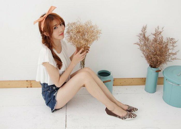Pyf ♥ 韓版獨家訂製 超舒適軟膠底 漆皮咖啡色拼接豹紋 尖頭平底鞋 寬楦 40-42大尺碼女鞋