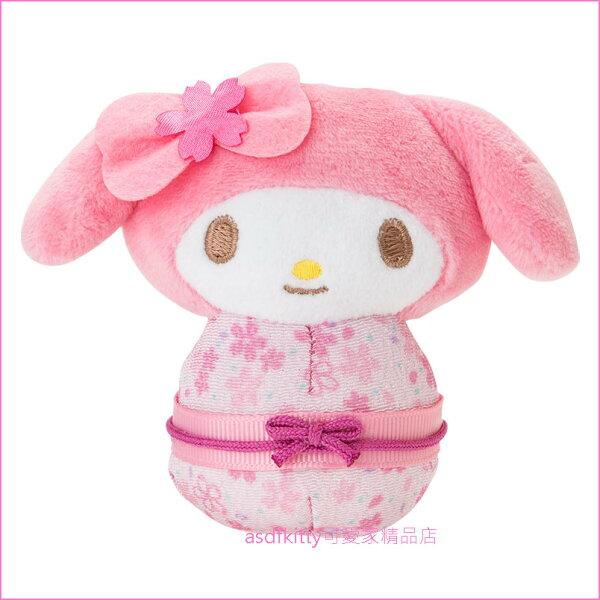asdfkitty可愛家☆美樂蒂櫻花和服造型可站立小娃娃短絨毛玩偶-陪您上班上網-紓壓療癒-日本正版商品