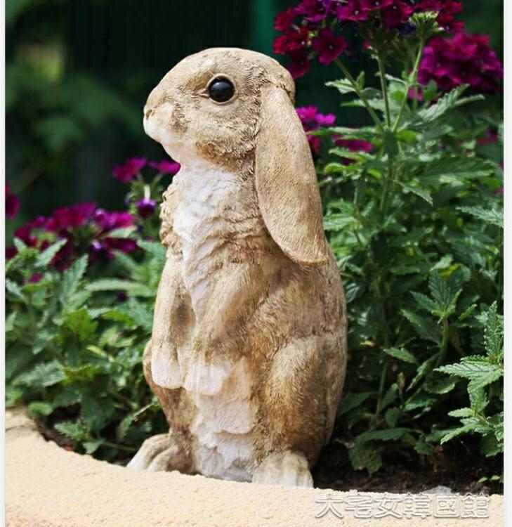 仿真擺件仿真小兔子花園庭院裝飾戶外擺件卡通動物樹脂雕塑幼稚園景觀造景