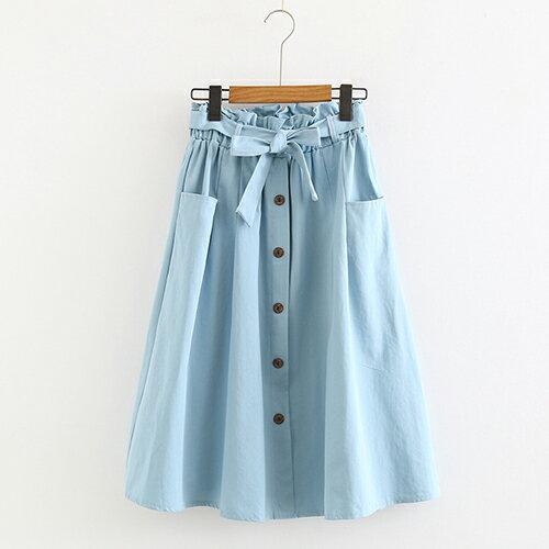 *ORead*小清新大口袋高腰棉麻繫帶半身裙(4色F碼) 1