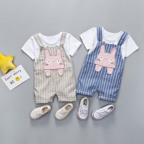 嬰兒短袖套裝短袖上衣+吊帶褲寶寶童裝YN21336好娃娃