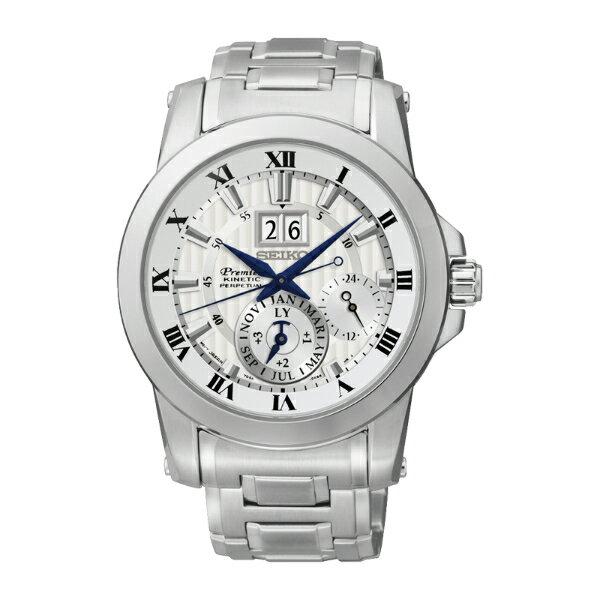 Seiko Premier 7D56-0AB0S(SNP091J1)人動電能萬年曆大視窗日期經典腕錶/白面41mm