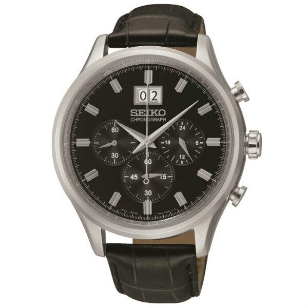 SeikoCS系列7T04-0AE0C(SPC083P2)時尚大視窗計時腕錶黑面42mm