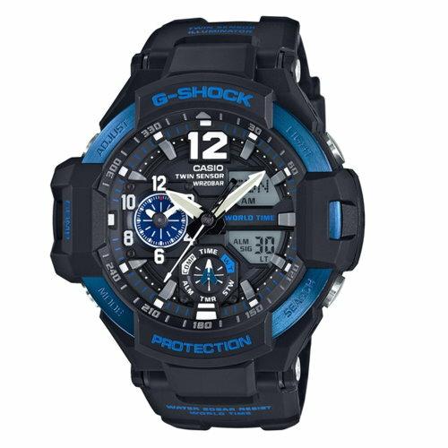 CASIO / G-SHOCK / 流行主義飛行錶款 / 黑*藍 / GA-1100-2BDR - 限時優惠好康折扣
