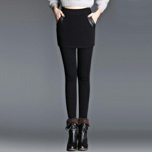 加絨加厚修身保暖高腰假兩件打底裙褲(2色M~4XL)【OREAD】 0