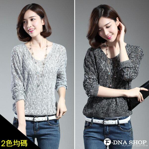 F-DNA★F-DNA★混色三角麻花V領長袖針織衫(2色)【ET12355】 0