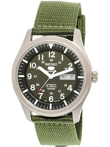 987c456a112 Seiko 5 Sports SNZG09 Men s Green Nylon Fabric Band Military Dial Automatic  Watch