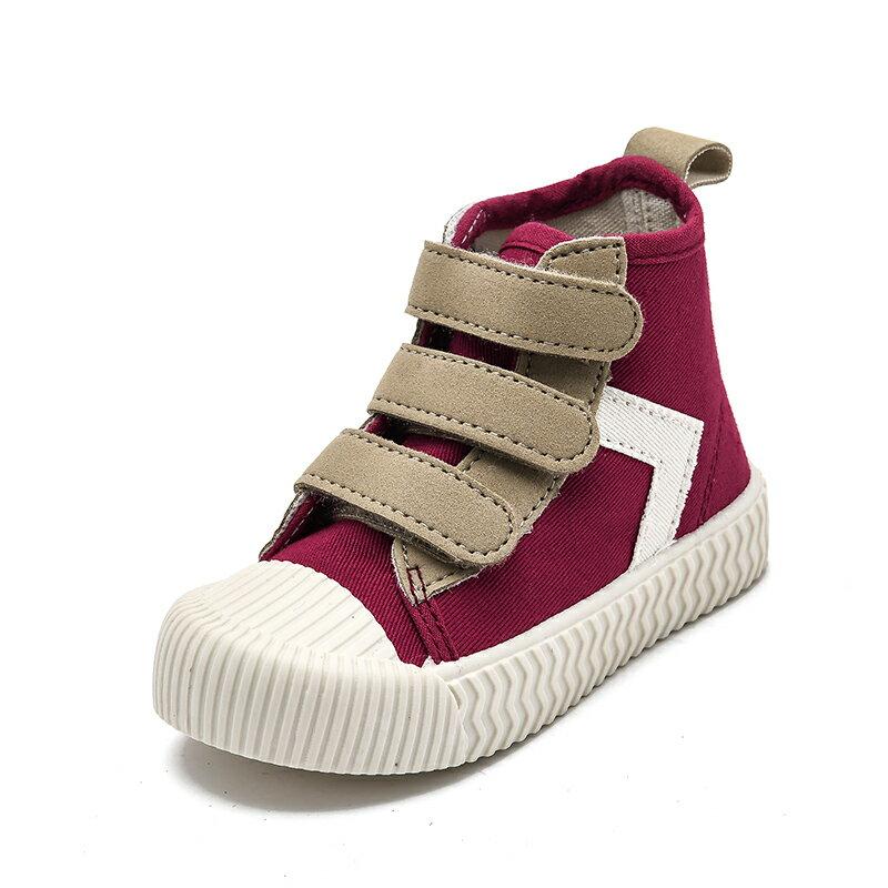 TS款兒童帆布鞋韓版鞋百搭魔術貼軟底鞋
