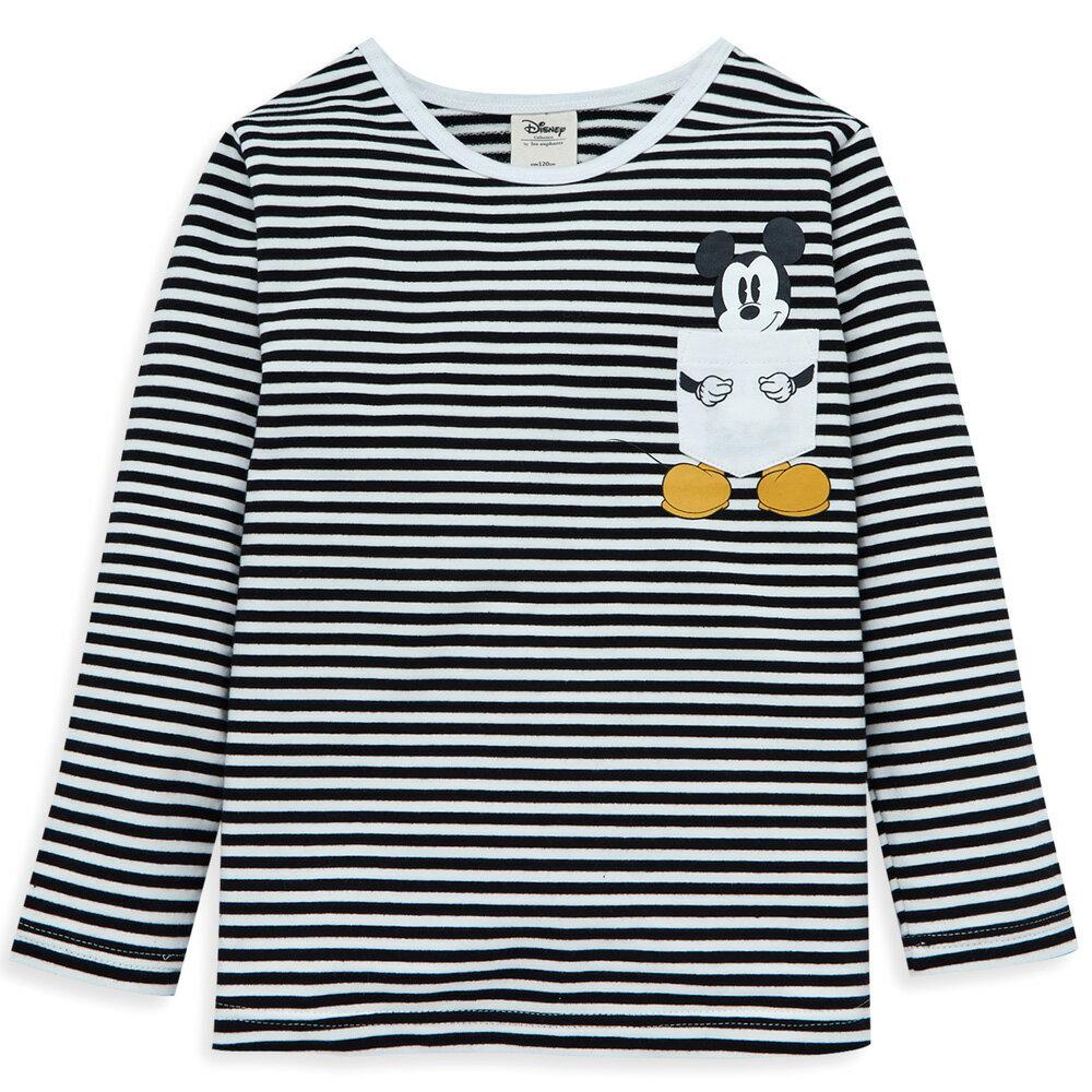 Disney 米奇系列米奇抱抱條紋上衣-白色 - 限時優惠好康折扣