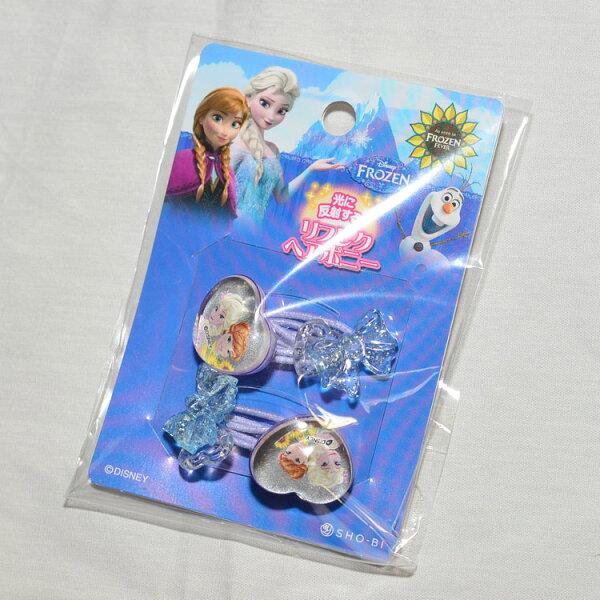 日本製反光安全髮圈髮束一包裝冰雪奇緣FROZEN心形蝴蝶結