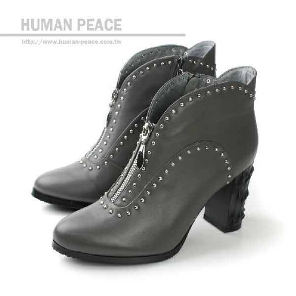 HUMAN PEACE 皮革 鉚釘 拉鍊 好穿脫 高跟 戶外休閒鞋 灰 女鞋 no315