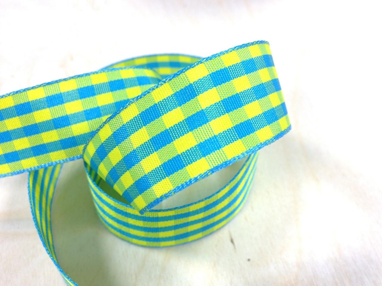 格子緞帶15mm3碼(16色) 3
