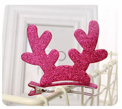 X射線【X020008】金蔥鹿角髮夾,聖誕節/髮夾/帽夾/飾品/聖誕樹/派對/化妝舞會/表演道具/話劇/髮圈