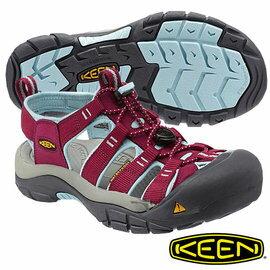桃源戶外登山露營旅遊用品店:KeenNewportH2女護趾水陸兩用鞋暗紅粉藍1012867