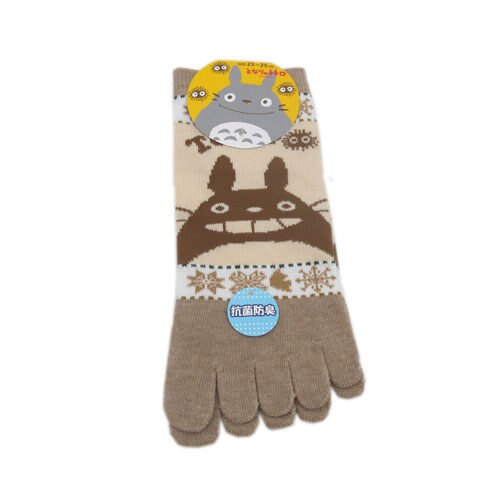 【真愛日本】14072700074 五指襪-咖龍貓雪花米棕 龍貓 TOTORO 短襪 棉襪 裸襪 日本帶回