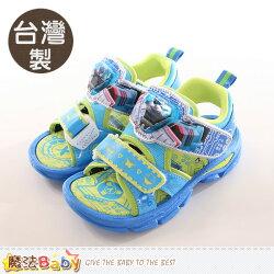 兒童涼鞋 台灣製機器戰士正版閃燈運動涼鞋 魔法Baby~sa76016a