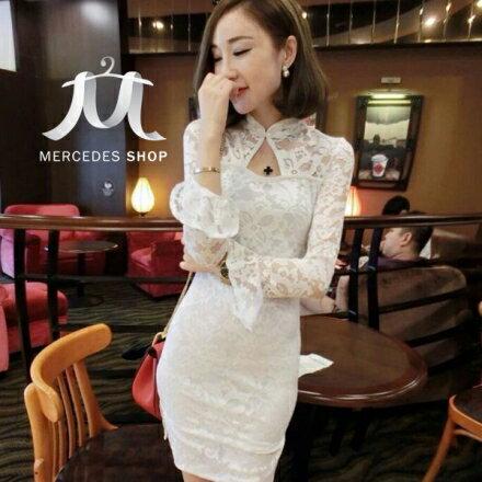 梅西蒂絲Mercedes Shop:《早秋新品5折》蕾絲旗袍長袖洋裝-S-L-梅西蒂絲(現貨+預購)
