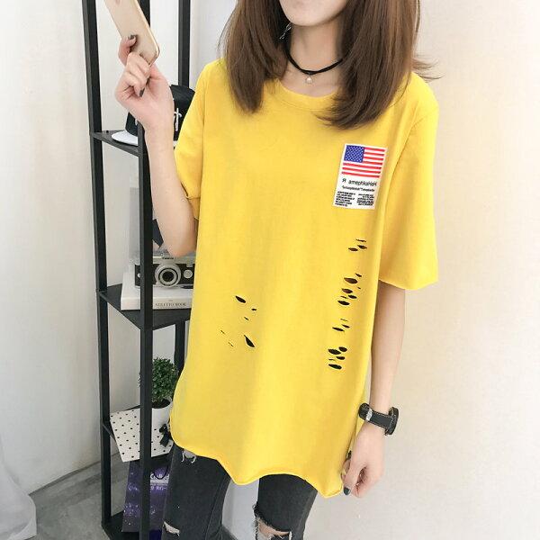 FINDSENSE服飾:FINDSENSEG5韓國時尚夏季短袖T恤中長款大尺碼女裝破洞上衣