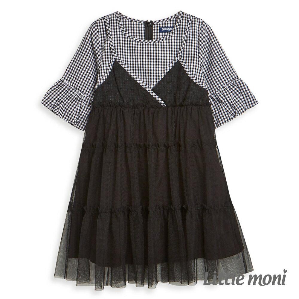 Little moni 假兩件網紗拼接洋裝-黑色(好窩生活節) - 限時優惠好康折扣