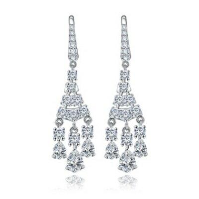 純銀耳環鍍白金鑲鑽耳飾~ 大方 生日情人節 女飾品2色73cr437~ ~~米蘭 ~