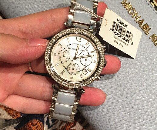 美國Outlet 正品代購 Michael Kors MK 三環 淺藍精鋼 滿鑽 手錶 腕錶 MK6138 7