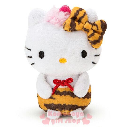 〔小禮堂〕Hello Kitty 造型絨毛沙包娃娃《SS.白.站姿.虎紋褲.虎紋蝴蝶結》