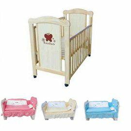 【來電另有優惠】夢貝比嬰兒床-蝴蝶嬰兒中床(原木色)+寢具8件組6900元*美馨兒*