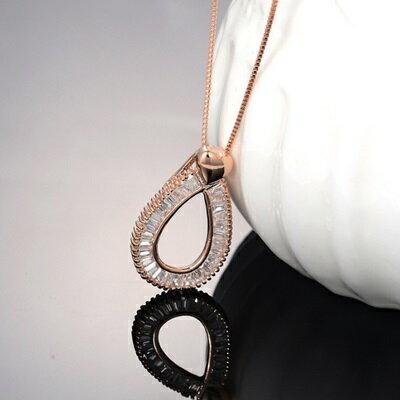 玫瑰金項鍊 水晶純銀吊墜~優雅氣質水滴型 七夕情人節 女飾品73dw154~ ~~米蘭 ~