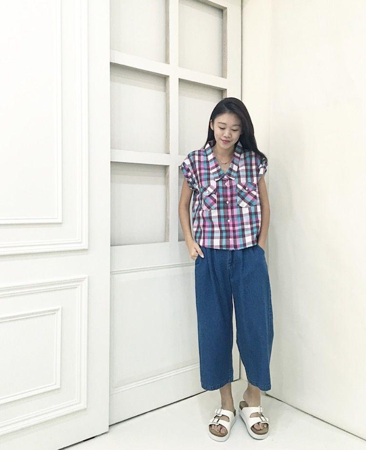 日系 配色格紋短袖襯衫