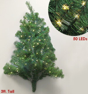3 Foot Pre Lit Christmas Wall Tree 0
