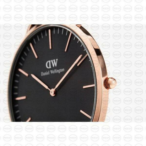 40MM 0129DW 黑錶面 玫瑰金邊 真皮黑錶帶 瑞典正品代購 Daniel Wellington 男錶手錶腕錶 1