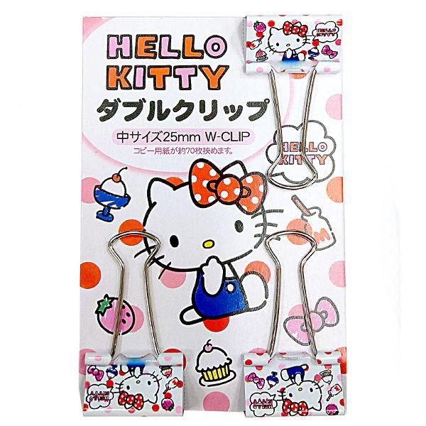 【領券折$30】小禮堂 Hello Kitty 鐵製長尾夾組《3入.白.點點》燕尾夾.夾子.銅板小物