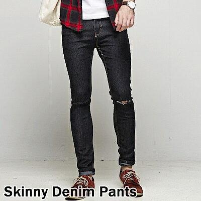 DITION 窄管牛仔褲 原色DENIM微刷破口袋皮革 彈力 合身 4