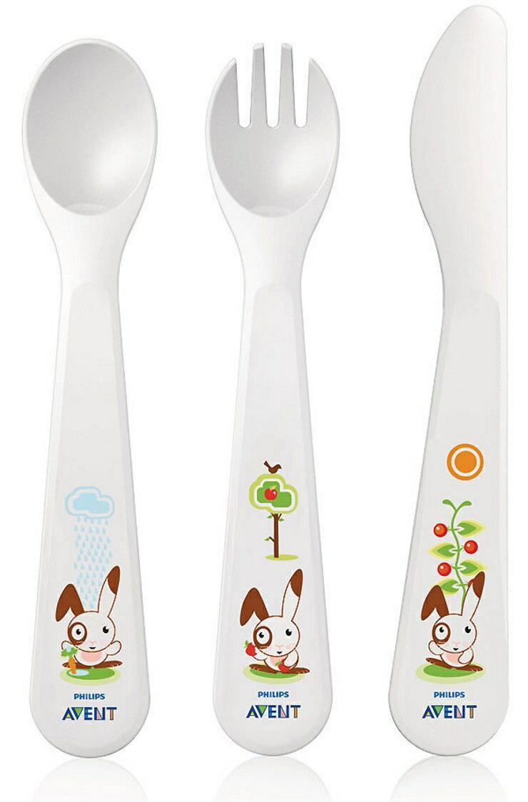 【寶貝樂園】AVENT QQ兔學習刀叉匙組18M+