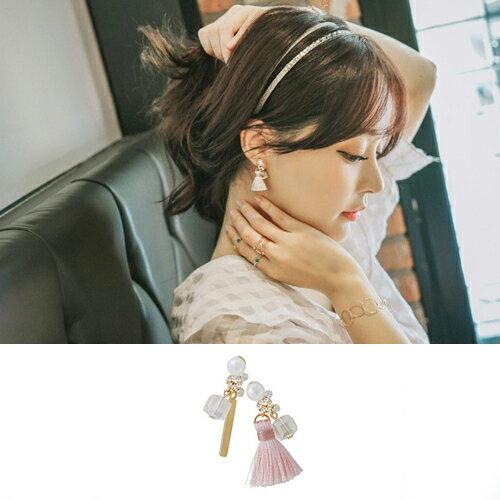 ~BOBI~02 01韓系氣質精緻珍珠小流蘇不對稱耳環~TS364~