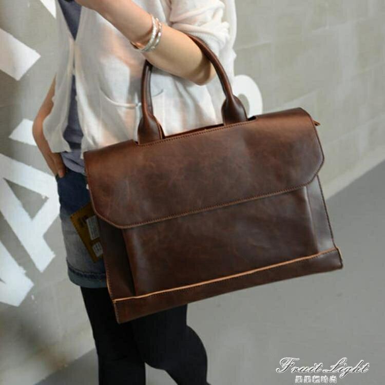 【快速出貨】潮流新款潮包包商務手提包斜背包休閒復古側背包 公文包 休閒包女 聖誕節交換禮物