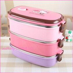 asdfkitty可愛家☆KITTY小廚師3層手提防燙304不鏽鋼便當盒/保鮮盒/水果盒/餐盒-韓國正版商品