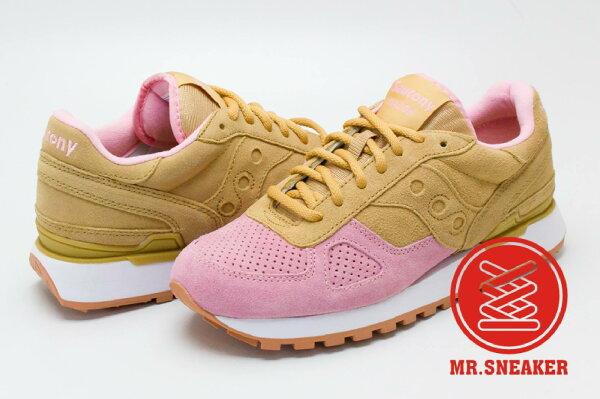 ☆Mr.Sneaker☆SAUCONYShasowOriginal雙色拼接麂皮粉紅卡其跳色女段