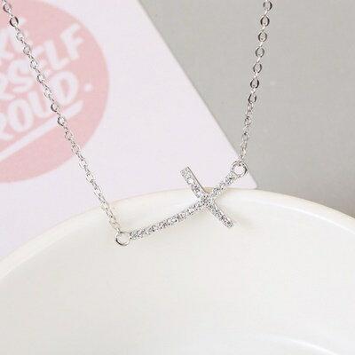 925純銀項鍊 鑲鑽吊墜~簡潔亮眼 十字架母親節情人節生日 女飾品73gx22~ ~~米蘭