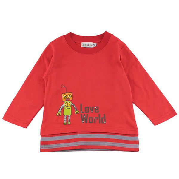 [愛的世界LOVEWORLD] 機器人系列 純棉長袖印圖上衣 紅色 台灣製造 1歲~8歲